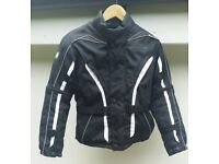 Childs Buffalo Textile Motorcycle Jkt. Suit 8/10yrs. Black and White.