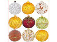 Details about 6 Glass Christmas Baubles Handmade & Painted Balls Ball Tree Decorations Set 5