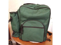 Walking / Hiking Picnic Backpack / Rucksack with plastic plates, cutlery etc & wine bottle cooler