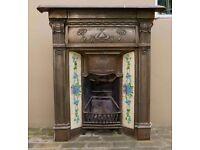 Original Antique Cast Iron Edwardian Victorian Fireplace with tiles