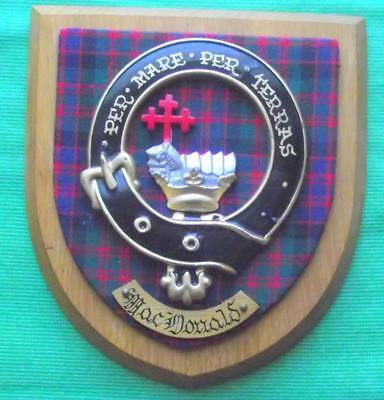 Vintage Old Scottish Carved Oak Clan MacDonald Plaque Crest Shield Motto  B