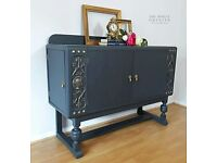 Stunning Sideboard / Buffet - French / Austrian ? Antique - Oak - Hand Painted - Lounge Furniture