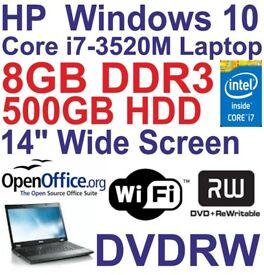 Windows 10 HP Elitebook 8470P Core i7 Laptop - 8GB DDR3 - 5000GB - DVDRW - Wi-Fi