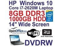 Windows 10 HP Elitebook 8460P Core i7 Laptop - 8GB DDR3 - 1000GB - DVDRW - Wi-Fi