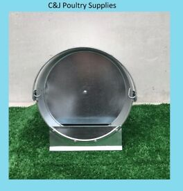 NEW CHICKEN POULTRY GALVANISED METAL DRINKING BUCKET 0.8 GALLON WITH HANDLE
