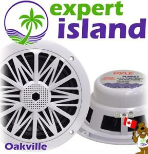 Pyle PLMR62 Dual 6.5 Water Resistant Marine Speakers, 2-Way Stereo Sound, Built-in Tweeters, 200 Watt, White