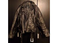Vintage Fringed Leather Biker Jacket L