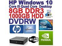 Windows 10 HP 8300 Quad Core i5 Gaming Tower Computer - 8GB DDR3 - 1000GB HDMI