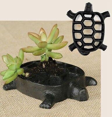 Metal Tortoise Turtle Decorative Flower Frog Vase Antique Looking
