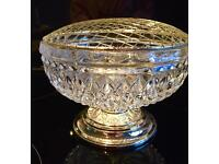 Zinc Plated Crystal Glass Rose Bowl