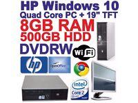 "Windows 10 HP Core 2 Quad Desktop PC Computer & 19"" TFT -8GB RAM - 500GB HDD"