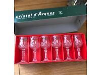 Set of 6 crystal sherry shot liqueur glasses