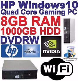 Windows 10 HP Core 2 Quad Gaming PC Computer - 8GB RAM - 1000GB HDD - HDMI Wi-Fi