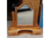 Pine Vanity Mirror with 2 drawers