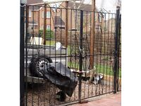 HEAVY METAL GATES, ONE PAIR, A SIDE GATE AND TWO POSTS, STURDY, GOOD CONDITION, CAN DELIVER