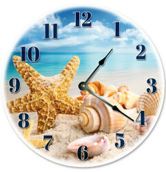 12 SEA SHELLS ON THE BEACH CLOCK - Large 12 inch Wall Clock - 2003 - 12