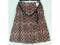072e0096c2 Pretty brown and blue cotton pleated skirt with feature belt by M&S BNWT  Size 10