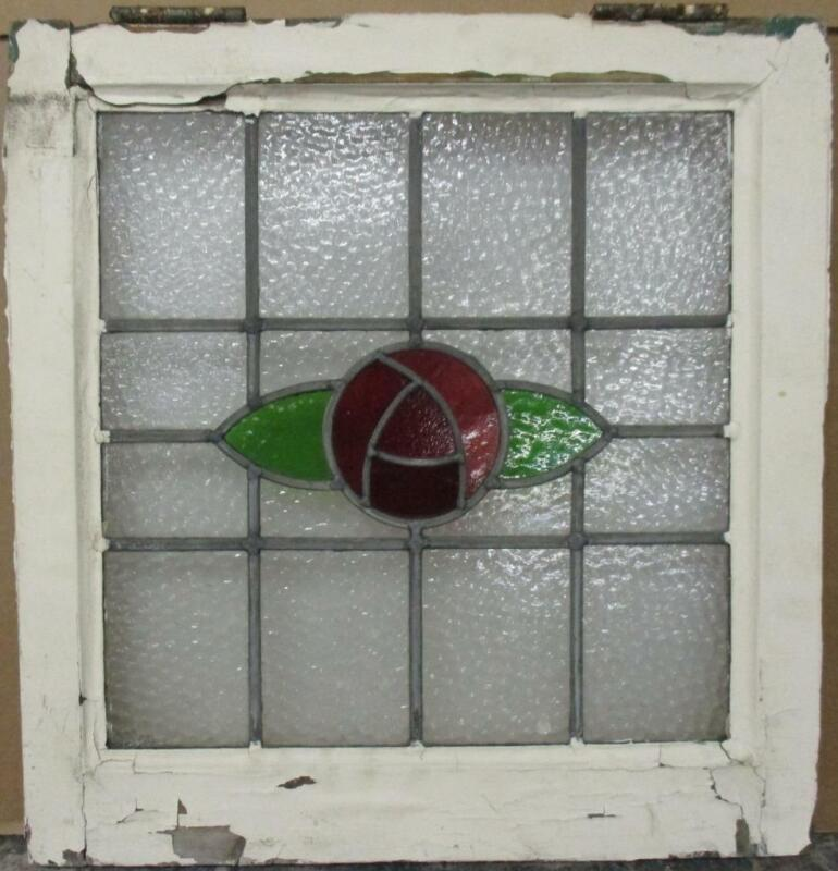 """OLD ENGLISH LEADED STAINED GLASS WINDOW Stunning Mackintosh Rose 19.25"""" x 20"""""""