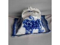 Vintage cheese dish blue & white floral design with some gilding.