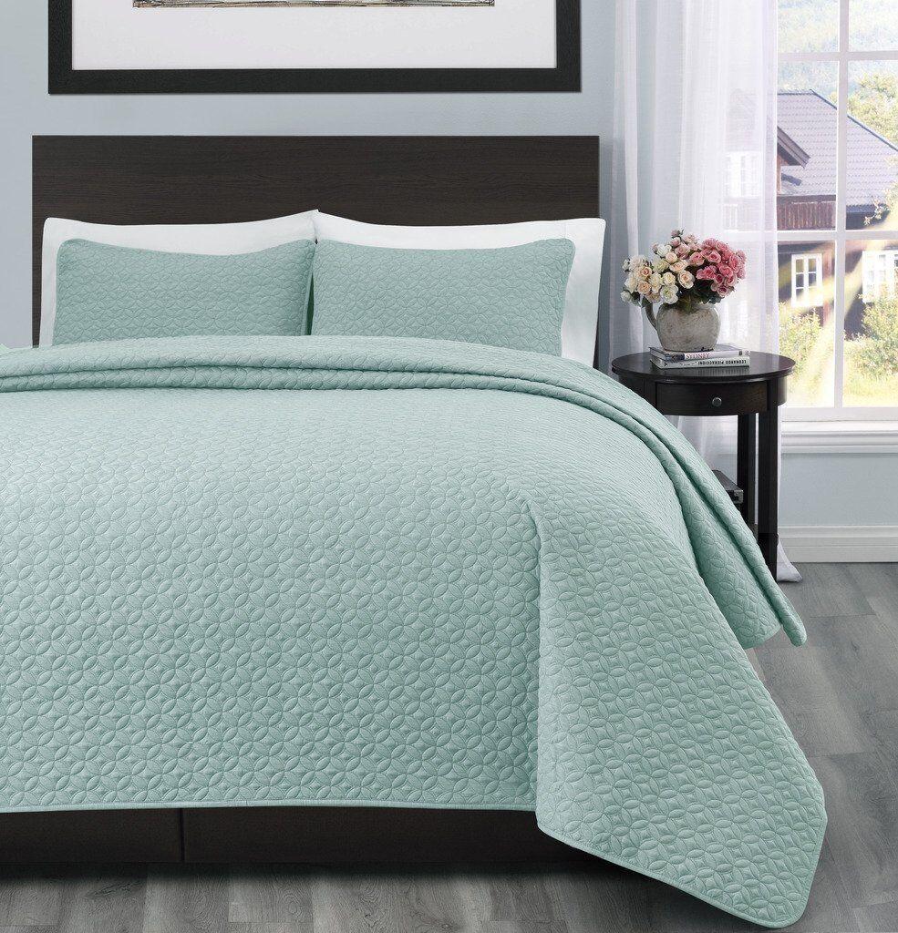 100% Polyester Microfiber 3PC Aqua Green Quilt Coverlet Beds