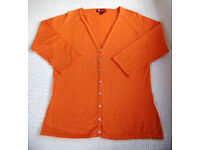 CARDIGAN: Monsoon Orange Women's V-neck Raglan ¾ length Sleeve. Size 12. Great for summer! £5 ovno