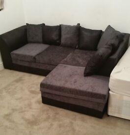 Chenille Fabric Corner Sofa RIGHT HD BLK GREY