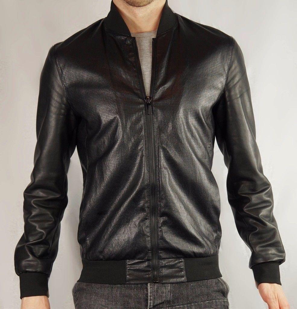 Zara Men 2016 Collection Black Faux Leather Bomber Jacket Uk