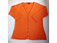 CARDIGAN: Monsoon Orange Women's V-neck Raglan ¾ length Sleeve. Size 12. Great for summer! £5 ovno