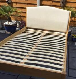 Oak Double Bed Frame - Upholstered Head Board - Excellent Condition.
