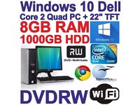"Full Windows 10 Dell Core 2 Quad Gaming PC Computer - 8GB RAM - 1000GB - 22"" TFT"