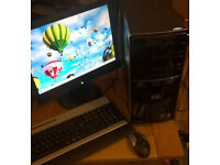 HP pavilion desktop PC with 17inch monitor, keyboard, mouse. Full set up