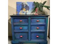 Large Solid Pine Chest of Drawers Painted Blue