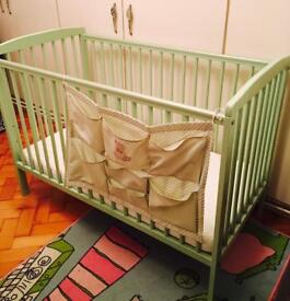 Beautiful green Brighton toys r us cot bed quick sale