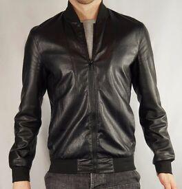 Zara Men - Black Faux Leather Bomber jacket - UK Size M