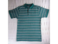 POLO SHIRT: Great Northwest men's green/grey striped. Size M. Excellent condition - worn/washed once