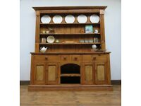 Substantial Farmhouse Pine Dresser Quality Kitchen Unit Dresser Display 2 pieces