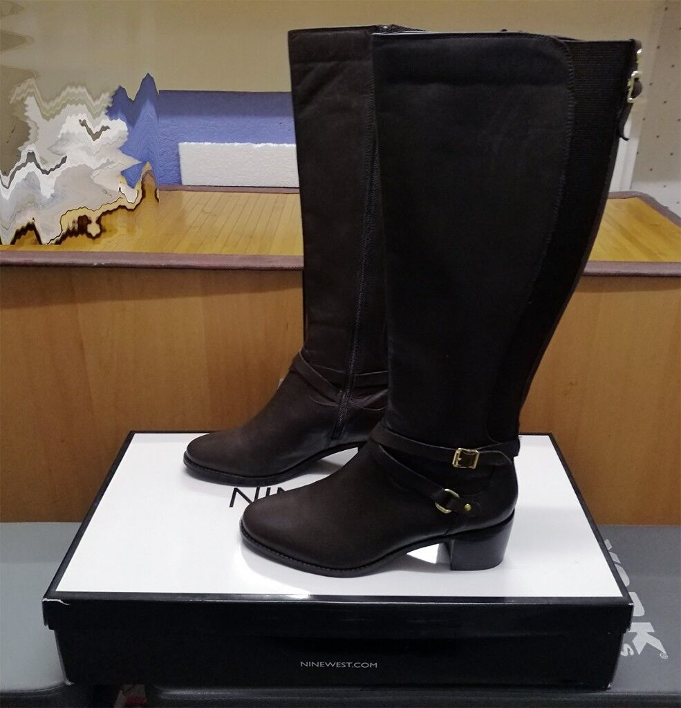 bd043237e17 Nine West Raleigh Leather High Heel Knee Boots - Size 7 UK - Brown ...