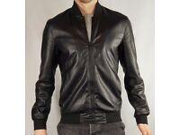Zara Men 2016 collection - Black Faux Leather Bomber jacket - UK Size M (Medium)