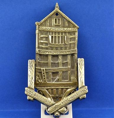 Vintage Brass Knocker GODS PROVIDENCE HOUSE Chester 1652 England  13.8 cm H