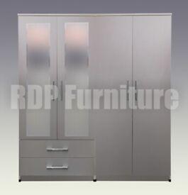 Beatrice 4 door 2 drawer mirrored wardrobe grey