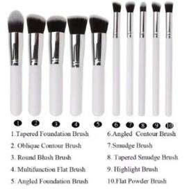 10 Piece Medium MakeUp Brush Set