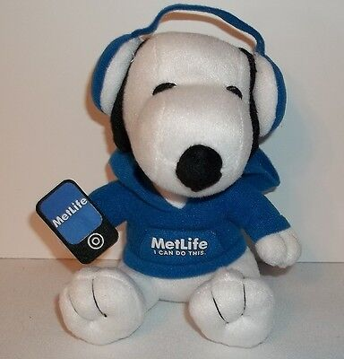 New Metlife Promo Tech Snoopy Stuffed Promotional Toy 6  Sitting 2013 Plush