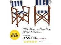 X2 Blue and white striped garden chairs