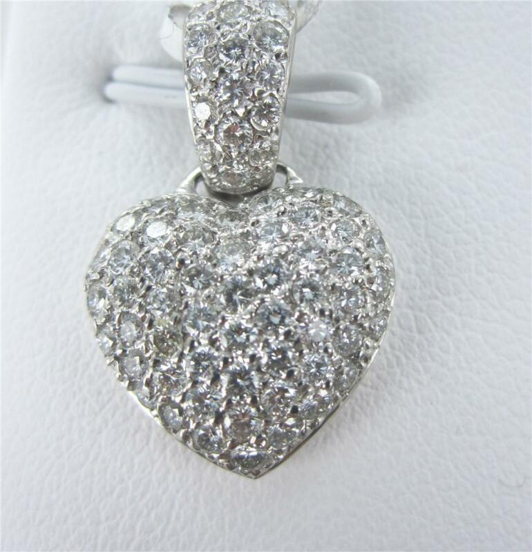 18kt White Gold 79 Diamond Heart Pendant For Valentines Day 014933001