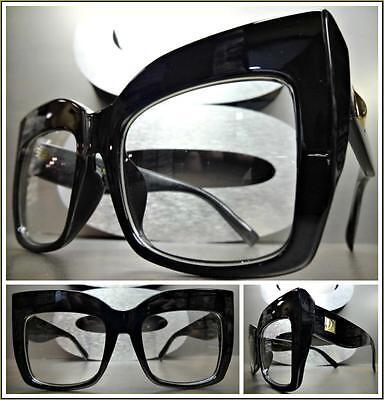 OVERSIZED VINTAGE RETRO Style Clear Lens EYE GLASSES Thick Black Fashion Frame