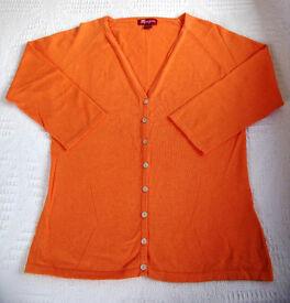 Monsoon Orange Women's V-neck Raglan ¾ length Sleeve Cardigan. Size 12. Great for summer! £5 ovno