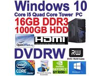 .Windows 10 Core i5 Quad Core HDMI Gaming Tower PC 16GB DDR3 - 1000GB HDD DVDRW