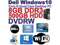 Windows 10 Dell- Core i5 Quad Core Gaming PC Computer - 8GB DDR3 - 500GB - HDMI