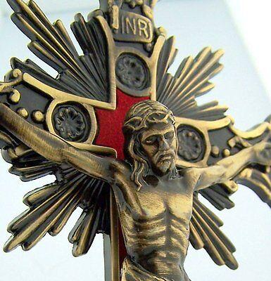 "10"" Bronze Standing Catholic Christian Altar Church Decor Chapel Cross Crucifix"