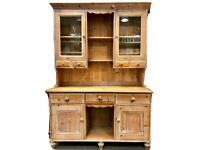 Large vintage rustic country farmhouse pine Double WELSH DRESSER, with Glass Display Cabinet Doors